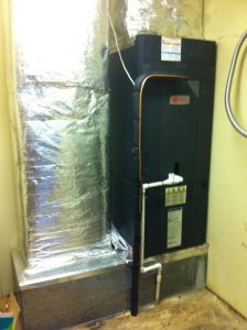 Installation of a 5 ton, TRANE air handler in a commercial application.