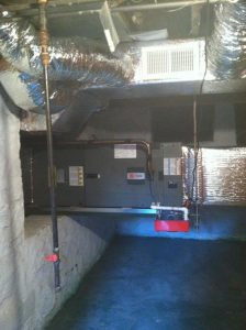 The new XV Variable Speed air handler we installed in a basement. We gave the owner an extra 300 sq ft of storage space by reconfiguring the indoor unit and duct system