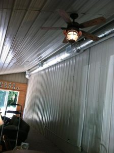 This is an exposed duct system that we installed in a sunroom for one of our customers in Edmonton KY.