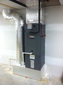 This is the typical installation of the XL Hyperion air handler in a basement and and main floor application.
