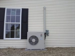 Whisper quite outdoor unit. This unit will heat and cool this home using less electricity than most vacuum cleaners.